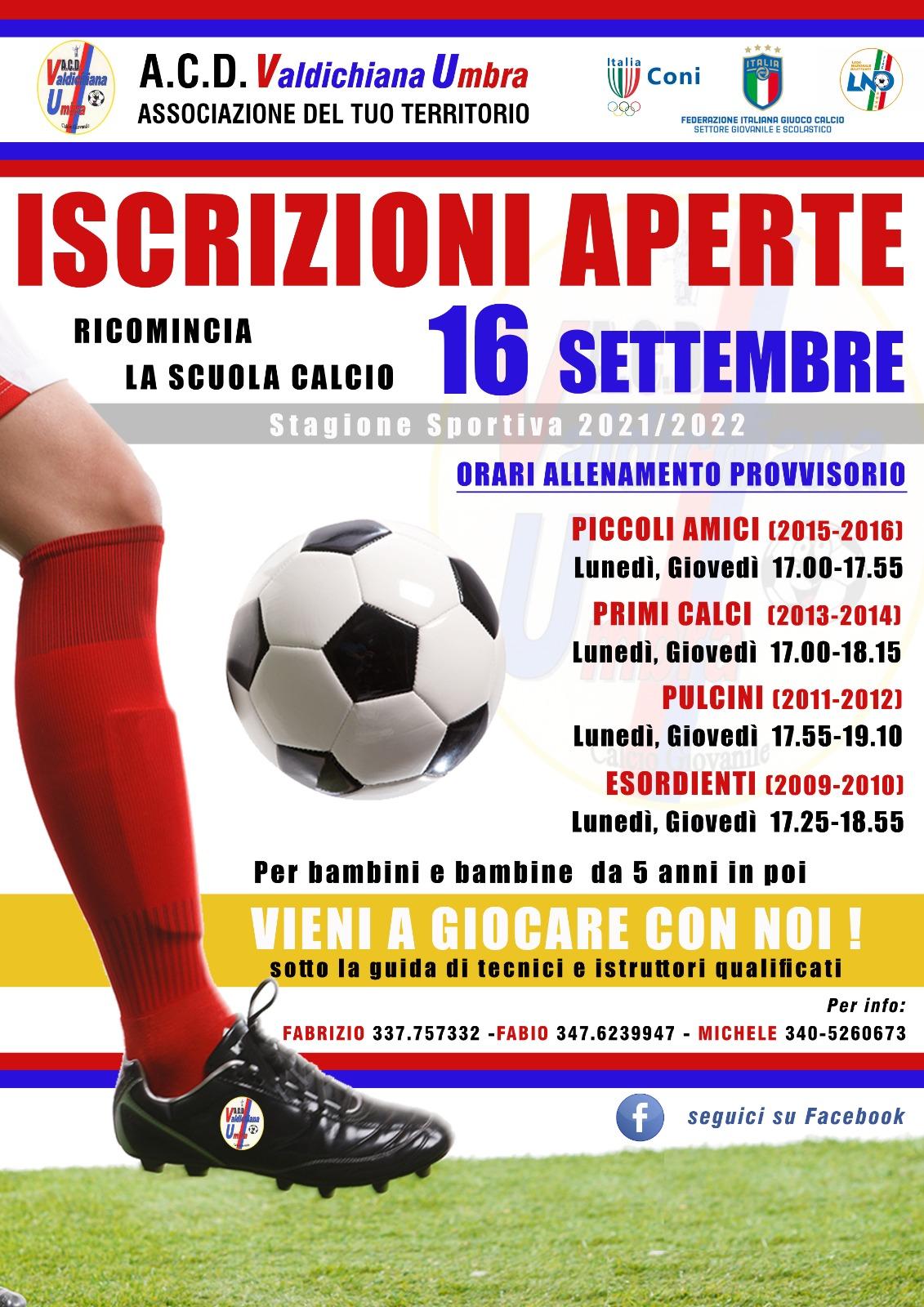 Scuola Calcio ACD Valdichiana Umbra - Aperte le Iscrizioni