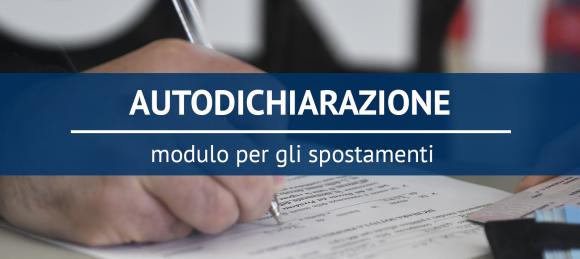 AUTODICHIARAZIONE - Modello per gli spostamenti di Novembre 2020