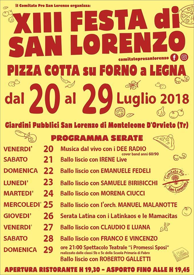 XIII FESTA DI SAN LORENZO -PIZZA COTTA SU FORNO A LEGNA